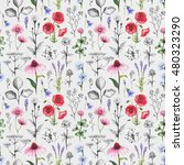 wild flowers illustrations.... | Shutterstock . vector #480323290