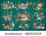 happy birthday hand drawn... | Shutterstock .eps vector #480324424
