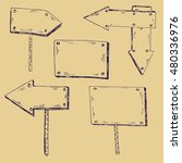 wooden signs. ink sketch. hand... | Shutterstock .eps vector #480336976