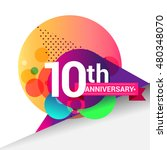10th anniversary logo  colorful ... | Shutterstock .eps vector #480348070