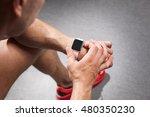 young man using fitness smart... | Shutterstock . vector #480350230