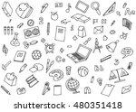 monochrome school children... | Shutterstock .eps vector #480351418