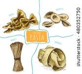 pasta set illustration. vector... | Shutterstock .eps vector #480352750