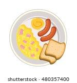 scramble eggs breakfast vector... | Shutterstock .eps vector #480357400