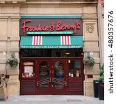 Small photo of MANCHESTER, UK - APRIL 21, 2013: Frankie & Benny's restaurant on April 21, 2013 in Manchester, UK. Frankie & Benny's is an Italian-American style restaurant chain with 200+ locations in the UK.