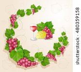 grapes with leaves background | Shutterstock . vector #480359158