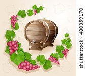 grapes with leaves background | Shutterstock . vector #480359170