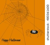halloween poster with cute... | Shutterstock .eps vector #480361600