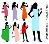 vector silhouette young elegant ... | Shutterstock .eps vector #480364780