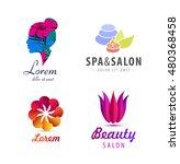 vector set of spa logos  flower ... | Shutterstock .eps vector #480368458