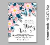 romantic pink peony bouquet... | Shutterstock .eps vector #480371800
