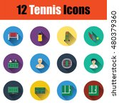 flat design tennis icon set in...