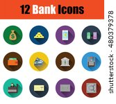 flat design bank icon set in ui ...