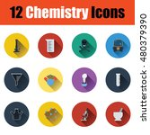 flat design chemistry icon set...