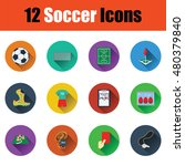 set of twelve soccer icon in ui ...