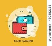 Stock vector modern minimal flat thin line wallet concept vector illustration mobile banking online finance e 480382198