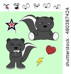 little cute skunk cartoon... | Shutterstock .eps vector #480387424