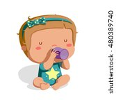 baby drinking bottle | Shutterstock .eps vector #480389740