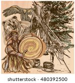 shaman. native man with drum... | Shutterstock .eps vector #480392500