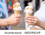 young couple offer ice cream...   Shutterstock . vector #480398149