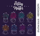 set of magic witch potions... | Shutterstock .eps vector #480402694