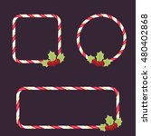candy cane empty frames with... | Shutterstock .eps vector #480402868