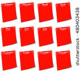 red notes with months on white... | Shutterstock . vector #480403438