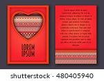 vintage romantic invitation 3d... | Shutterstock .eps vector #480405940
