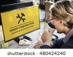 under construction warning sign ... | Shutterstock . vector #480424240