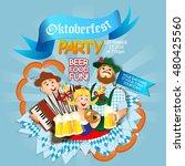 oktoberfest party flyer. girl... | Shutterstock .eps vector #480425560