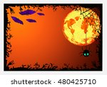 halloween border for design | Shutterstock . vector #480425710
