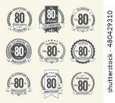set of vintage anniversary... | Shutterstock .eps vector #480429310