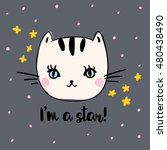 cute kitty with message i'm a... | Shutterstock .eps vector #480438490