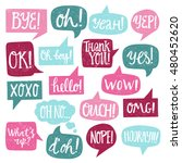 hand drawn speech bubbles with... | Shutterstock .eps vector #480452620