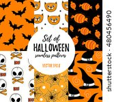 set of halloween seamless... | Shutterstock .eps vector #480456490