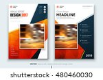 red flyer design with triangles.... | Shutterstock .eps vector #480460030