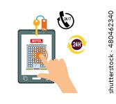 smartphone hand and hotel apps...   Shutterstock .eps vector #480462340