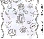 hand drawn nautical... | Shutterstock .eps vector #480465886