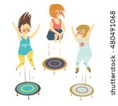 illustration of a girls playing ... | Shutterstock .eps vector #480491068
