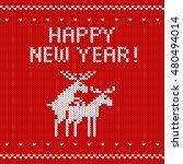 knitted red christmas... | Shutterstock .eps vector #480494014