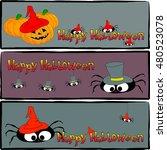 set of horizontal halloween... | Shutterstock . vector #480523078