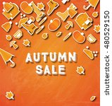 autumn sale banner with pumpkin ... | Shutterstock . vector #480529150