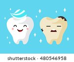 healthy and unhealthy sad tooth ... | Shutterstock .eps vector #480546958