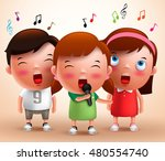singing kids vector characters... | Shutterstock .eps vector #480554740