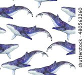 cosmic whales seamless pattern  ... | Shutterstock . vector #480563260