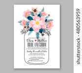romantic pink peony bouquet... | Shutterstock .eps vector #480563959