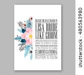 romantic pink peony bouquet... | Shutterstock .eps vector #480563980