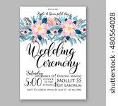 romantic pink peony bouquet... | Shutterstock .eps vector #480564028