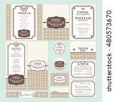 set of wedding cards vector... | Shutterstock .eps vector #480573670