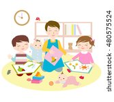 kindergarten illustration | Shutterstock . vector #480575524